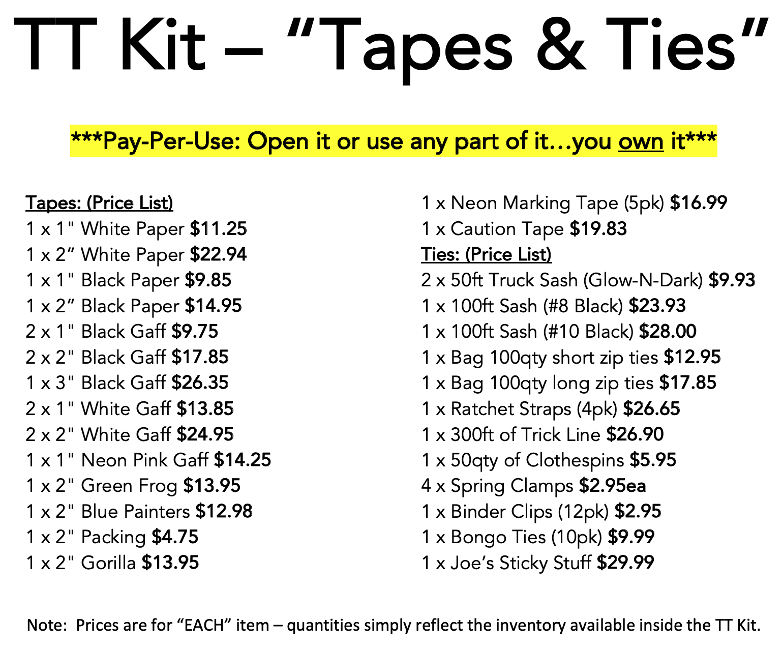 Tape Kit Pricing