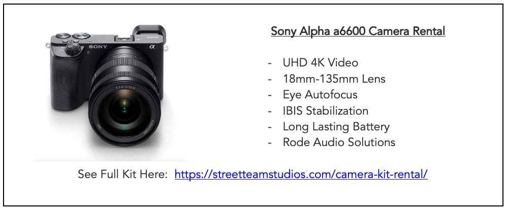 Sony Alpha a6600 Camera Rental