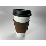 eco-friendly reusable vegan leather coffee cup sleeve